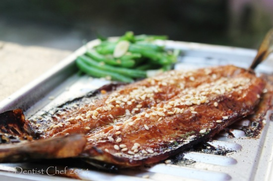 grilled sanma kabayaki sweet soy sauce broiled saury fish fillet