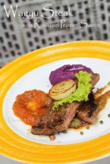 recipe wagyu beef steak roasted pepper sauce