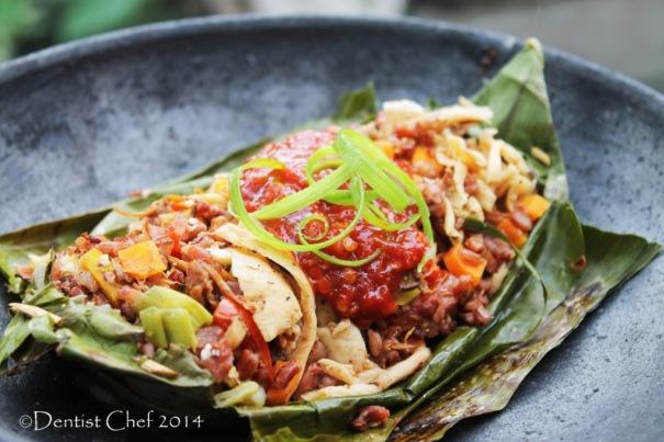 resep nasi bakar jamur beras merah red rice banana wrapped grilled