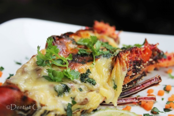 Lobster Thermidor with Charred Broiled Melted Cheese Over it!