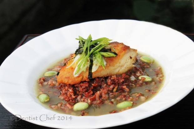 ochazuke recipe japanese rice green tea broth pan seared grouper