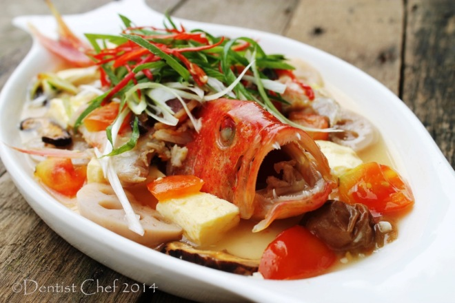 Teochew style steamed fish recipe with seven star grouper for Grouper fish recipes