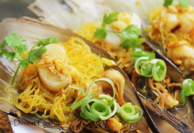 ginger garlic steamed scallops recipe with vermicelli scallop