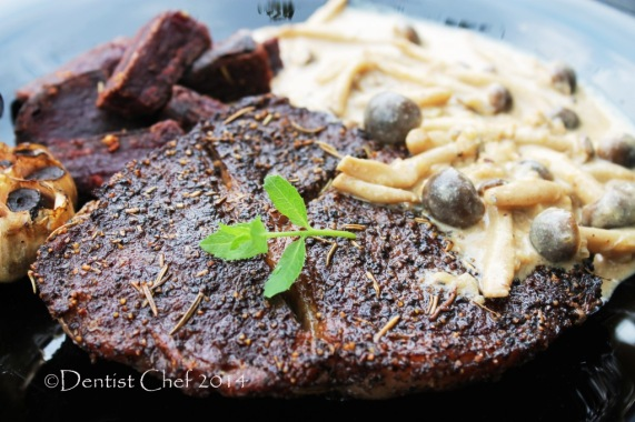 Recipe beef steak mushrooms cream sauce wagyu ribeye steak creamy mughrooms