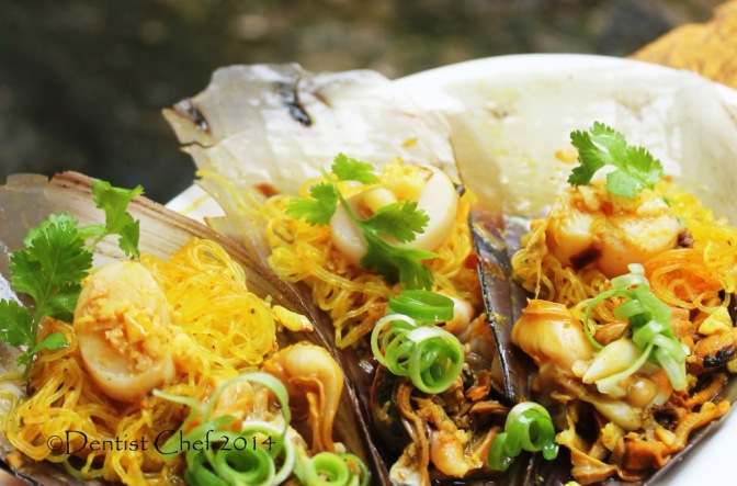 resep kerang kampak tim bawang putih steam scallop garlic ginger
