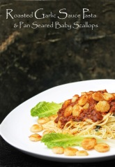 roasted garlic sauce pasta spaghetti spicy tomato garlic pan seared baby scallop