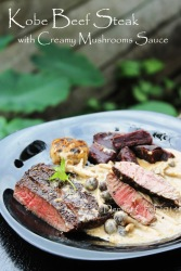 wagyu beef steak creamy mushrooms sauce