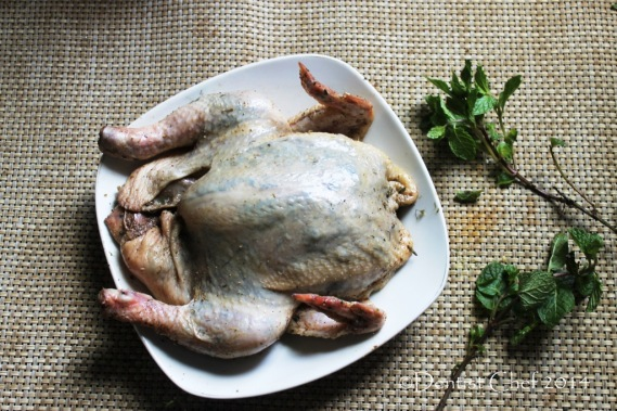 how to crispy skin roasted chicken herbs butter stuffed skin ckicken recipe blow air pump under chicken skin