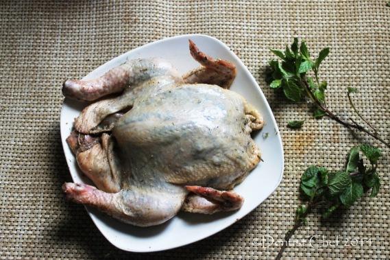 how to crispy skin roasted chicken herbs butter stuffed skin ckicken recipe blow air pump under chicken skin