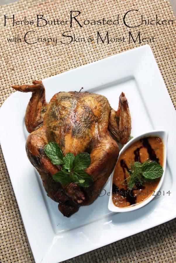 recipe herbs butter roasted chicken crispy skin moist meat