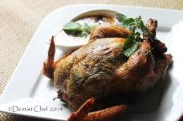 Herbs Butter Roasted Chicken with Crispy Skin, Tender & Moist Meat, Served with Peanut Butter Satay Sauce