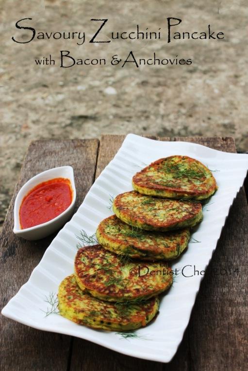 recipe zucchini pancake savoury courgette pancake fritter bacon anchovies zucchini fried