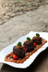 Grilled Beef Tenderloin Steak with Roasted Garlic Sauce filet mignon recipe