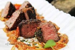 Grilled Beef Tenderloin Steak with Roasted Garlic Sauce
