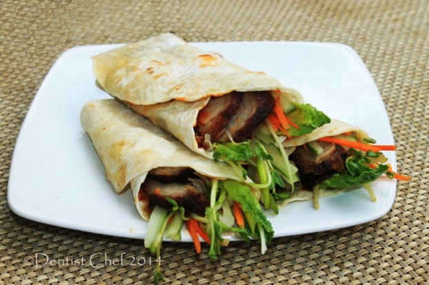 chinese pancake wrapped roasted peking duck hoisin sauce ginger scallion spring onion