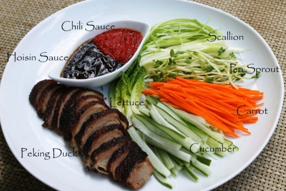 Chinese roasted peking duck hoisin plum sauce wrap pancake scallion spring onion cucumber recipe