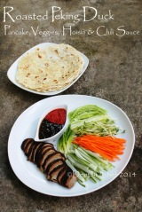 how to make roasted peking duck wrap in pancake hoisin plum scallion spring onion cucumber