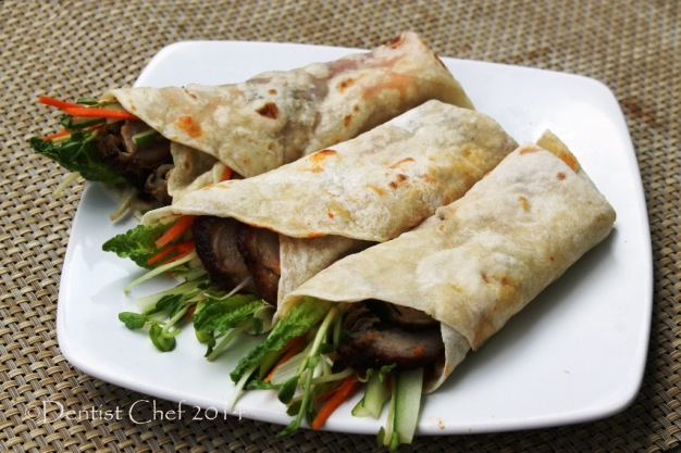 recipe roasted peking duck homemade chinese pancake wrapped meat spring onion scallion hoisin plum sauce