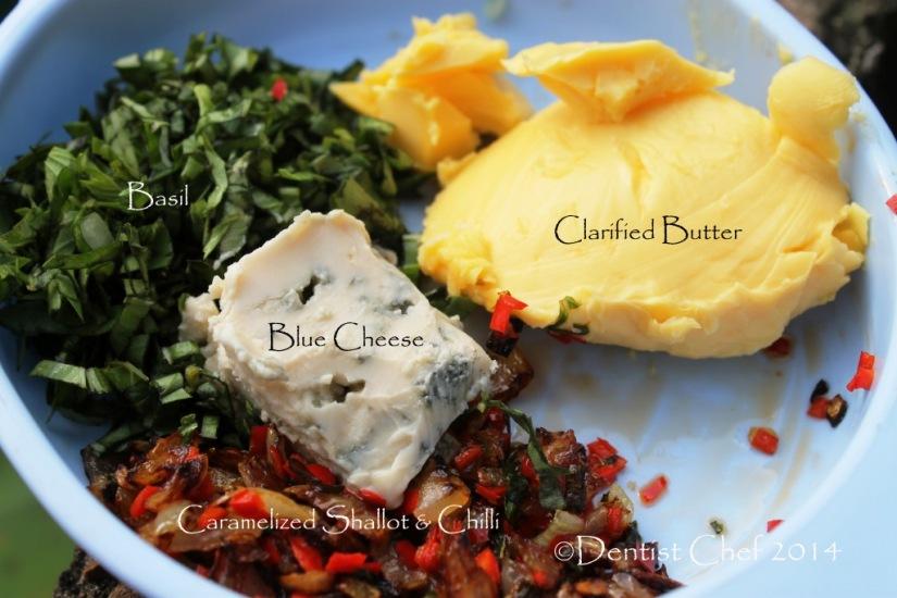 blue cheese butter recipe gorgonzola chili basil caramelized shallot butter