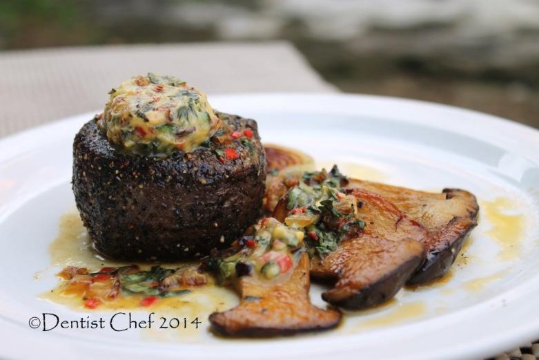 recipe dry aged tenderloin steak blue cheese butter sauce garlic chili basil sauteed mushrooms recipe