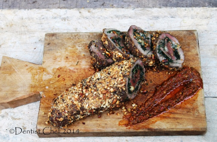 Recipe peanut crusted beef tenderloin stuffed spinach mozarella cheese chorizo gorgonzola filled whole tenderloin