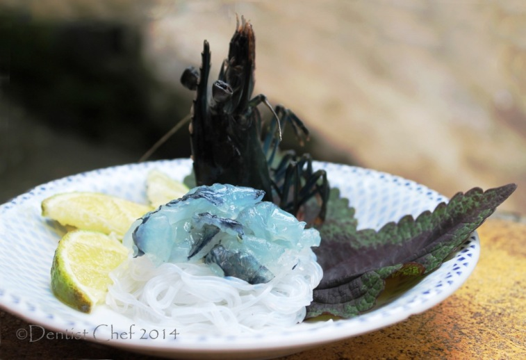 recipe prawn sashimi ebi amaebi shrimp raw soy sauce wasabi glass vermicelli recipe