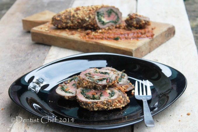 Recipe Stuffed Beef tenderloin with Spinach cheese chorizo peanut crusted beef loin