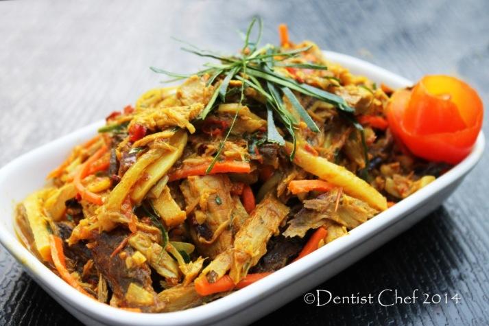 resep pampis pedas ikan cakalang asap masakan menado spicy shredded fish rousong