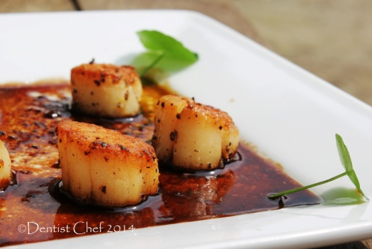scallops recipe pan seared balsamic reduction sauce with mushrooms soy sauce brown butter