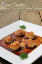 seared hokkaido scallops balsamic reduction mushrooms soy sauce pan fried scallops