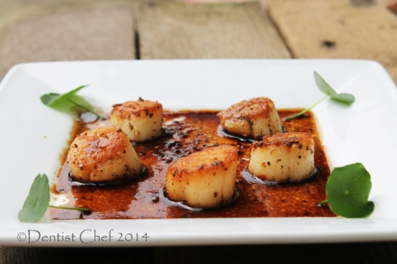 seared scallops hokkaido balsamic reduction brown butter mushrooms soy sauce
