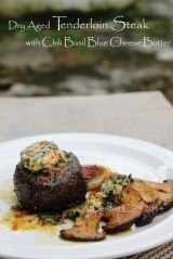 tenderloin steak with gorgonzola blue cheese butter recipe with chili basil and caramelized shallots
