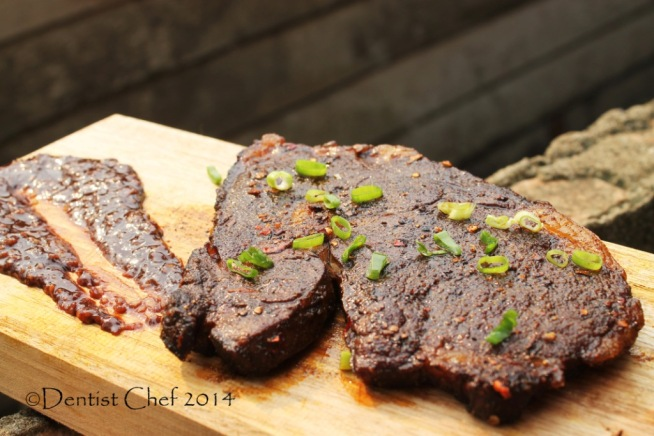 coffee chili ribeye steak rubbed crust with savoury dark chocolate sauce