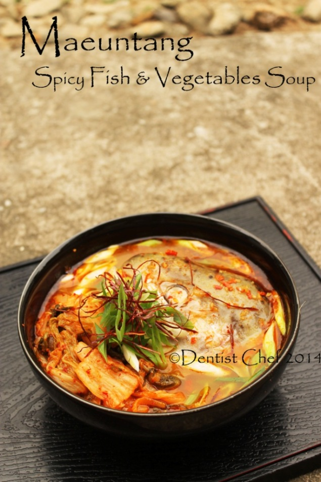 Maeuntang recipe spicy fish vegetables soup salmon head kimchi