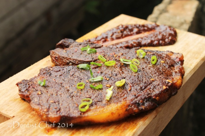 recipe coffee chili steak rubbed ribeye crusted savoury chocolate sauce beef