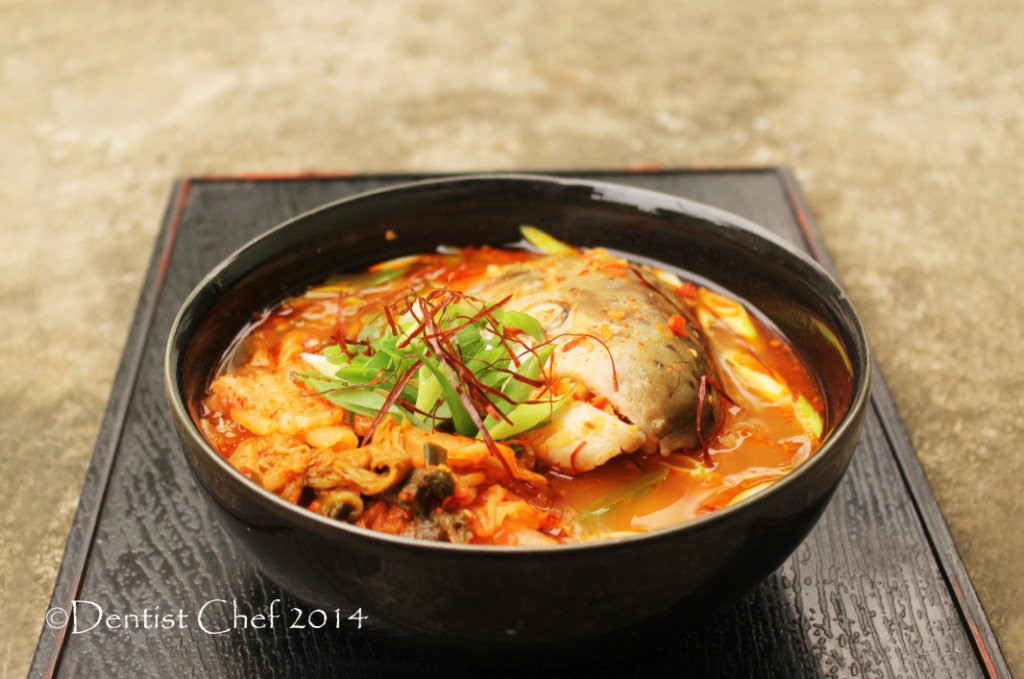 Recipe maeuntang korean salmon head with kimchi soup in for Fish broth soup