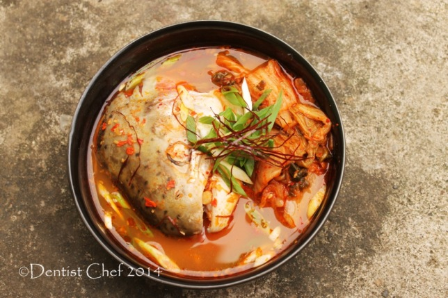 recipe korean spicy salmon head soup with kimchi vegetables maeuntang chili thread shilgochu scallion