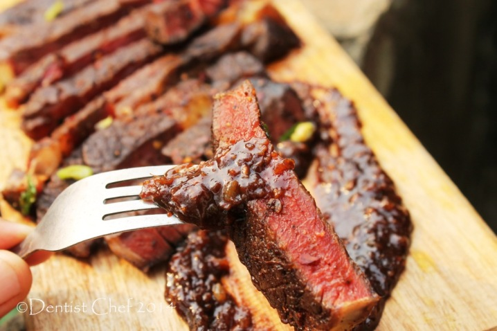 recipe savoury chocolate sauce steak beef ribeye coffee chilli rubbed marinade