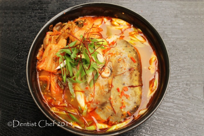 recipe spicy salmon head soup kimchi hot chili Maeuntang fish vegetables soup