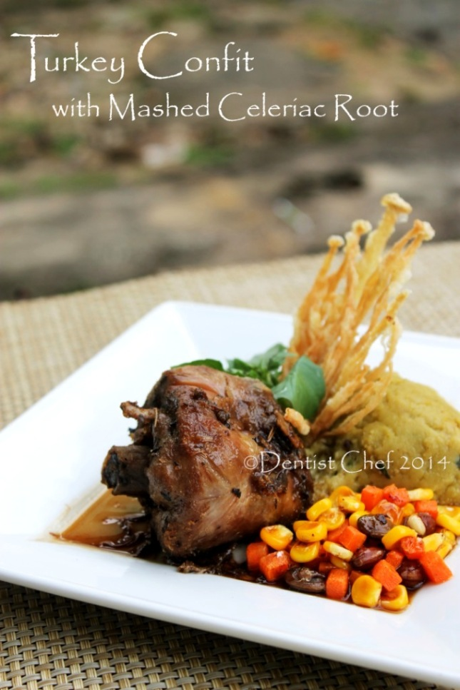 turkey leg confit herbs recipe mashed celeriac celery root basil