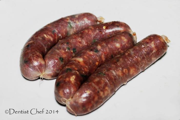 homemade bratwurst sausage pig intestine pork veal beef sausage