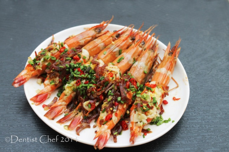 recipe steamed prawn garlic chili xo sauce chives lap cheong steam shrimp recipe