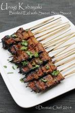 recipe unagi kabayaki japanese style broiled eel bamboo skewer grilled freshwater eel