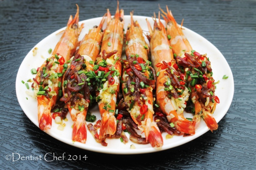 steamed shrimp xo sauce spicy chili garlic ginger chives oil tiger prawn