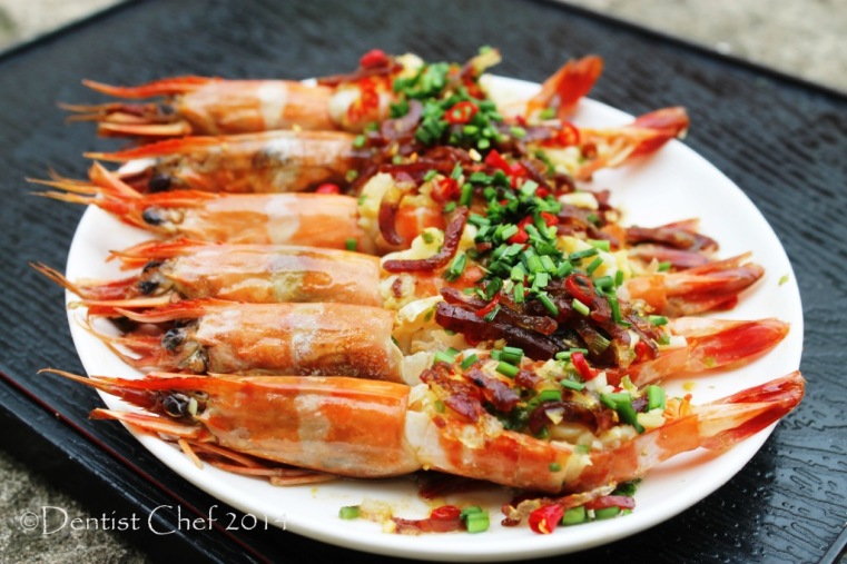 xo sauce prawn recipe steamed shrimp with garlic chili ginger chives lap cheong chinese sausage