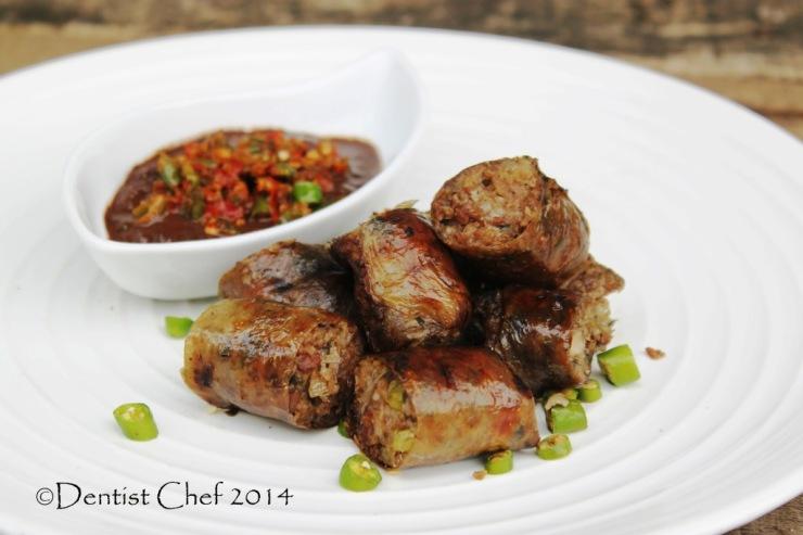 pig intestine sausage grilled pork sausage intestine casing barbeque spicy sausage recipe kidu kidu karo