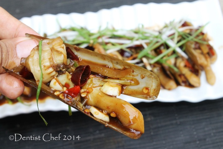 razor clams oyster sauce stir fried with ginger garlic chili pacific razor bamboo clams chinese style