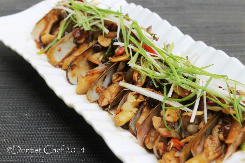 recipe bamboo clams oyster sauce stir fry razor clams chinese style jackknife clams Gould's razor shell