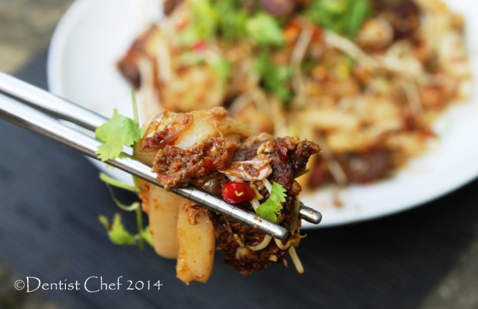 recipe beef char kway teow stir fry rice cake wagyu beef xo sauce egg beansprout