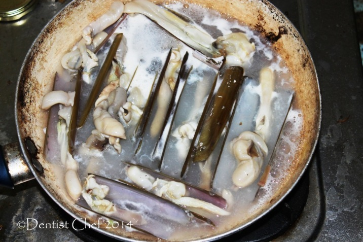 recipe how to cook razor clams boiled blanched blanch jackknife clams bamboo clams